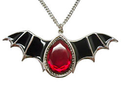 Gothic Black Epoxy Bat Wings and Blood Stone Pewter Necklace NK 500