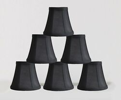 Urbanest Chandelier Mini Lamp Shades5quot;Bell SilkBlack w Double TrimSet of 6 $30.86