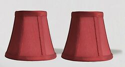 Urbanest Chandelier Mini Lamp Shades5quot;Bell SilkBurgundy Double TrimSet of 2 $15.50