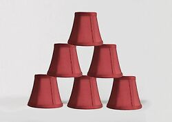 Urbanest Chandelier Mini Lamp Shades5quot;Bell SilkBurgundy Double TrimSet of 6 $32.99