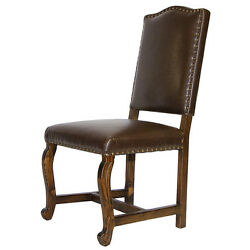 Sierra Madre Chocolate Leather Upholstered Chair Rustic Western Real Wood Cabin
