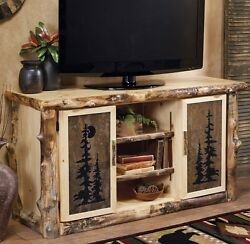 Log TV Console Stand w Tile Inserts - Country Rustic Wood Table Living Room