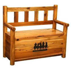 Western Boot Bench - Country Rustic Cabin Log Wood Bedroom Furniture Decor
