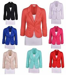 Auliné Collection Womens Casual Work Solid Color Knit Blazer $25.99