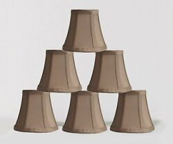 Urbanest Chandelier Mini Lamp Shades5quot;Bell SilkTaupe w Double TrimSet of 6 $29.99