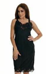 Women Illusion Full Slip Lace Adjustable Strap NonCling Size 34-50 Sexy Vintage  $12.99