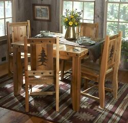 Rustic Kitchen Table Set - Country Western Log Cabin Wood Furniture Decor