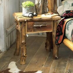 Log Nightstand with 1 Drawer Country Western Rustic Bedroom Furniture Decor $761.05