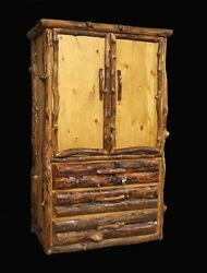 Log Armoire - 3 Drawer Rustic Country Western Cabin Wood Bedroom Furniture Decor