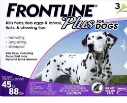 Frontline Plus for Large Dogs Flea and Tick 45 88 Lbs 3 Doses Genuine EPA $32.88