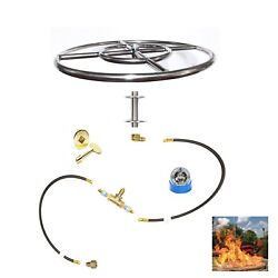 FR18K++ 18″ Fire Ring Complete Deluxe Pre-Plumbed NG LP Fire Pit Kit -Guts Only