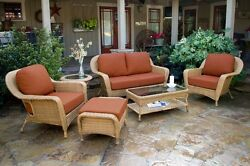 6 Piece Outdoor Patio Furniture Mojave Resin Wicker Deep Seating Love Seat Set