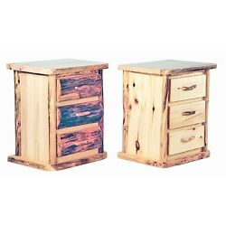 Rustic 3 Drawer Log Nightstand - Country Western Cabin Wood Furniture Decor