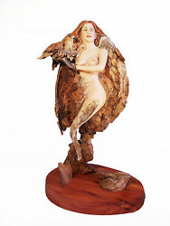 Rick Cain She Hawk Original Wood Carving Woman Nude Fantasy Spirit Sculpture