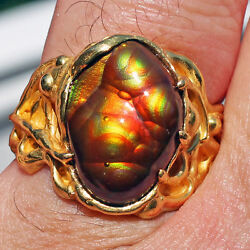 Gorgeous Ring 22k Gold Fire Agate Gem AAA Quality Slaughter Mountain Arizona
