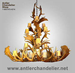 REAL MULE DEERFALLOW ANTLER CHANDELIER 21 CASCADING LIGHTS RUSTIC LAMPS ACS