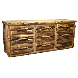 9 Drawer Log Dresser - Country Western Rustic Cabin Dresser Bedroom Furniture