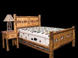 Country Bed Frame with Cutouts - Rustic Western Bedroom Cabin Furniture Decor