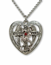 Gothic Dragon Surrounding Cross in Heart Pendant Necklace NK 458 $12.99
