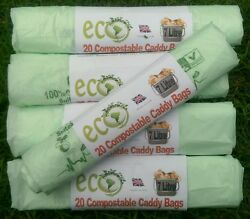 7L Compostable Biodegradable Food Waste Caddy Bin Liner Bio Eco Bags x 104 Bags GBP 10.27