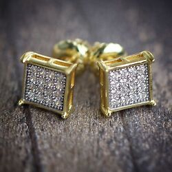 Mens Two Tone Small Gold Square Hip Hop Iced Screw back Stud Earrings $21.59