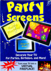 VIRTUAL PARTY SCREENS: NEW YEARS EVE BIRTHDAY & MORE wBONUS HOLIDAY FIREPLACE!