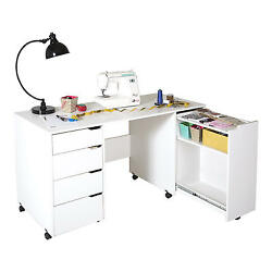 New South Shore Crea Pure White Sewing Craft Project Center Table on Wheels