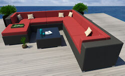 9 PC Modern Rattan Patio Set Outdoor All Weather Sectional Sofa Furniture Wicker