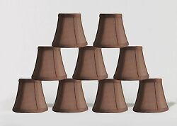 Urbanest Chandelier Lamp Shades5quot;Bell SilkEspresso w Double TrimSet of 9 $48.99