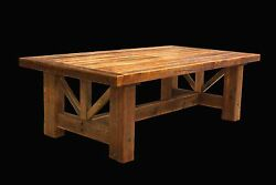 Country Trestle Table - Western Rustic Wood Log Cabin Kitchen Furniture Decor