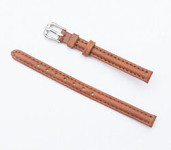 8mm Quality Genuine Leather Padded Tan Light Brown Watch Band - Size Regul