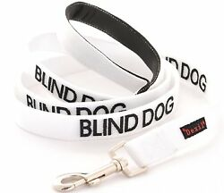 Dog Leash BLIND DOG Color Coded Warning Awareness Strong As Leather Strong Clip