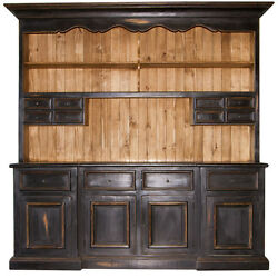 2 Piece Black Distressed China Cabinet Real Wood Western Rustic Buffet Hutch
