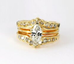 Exceptional 14kt Diamond Engagement Ring 1.10ct Marquise Cut Size 5.5