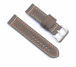 24mm Thick Leather Brown Multi-Thread(White & Red) Watch Band - Size Regular