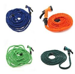 Latex 25 50 75 100 FT Expanding Flexible Garden Water Hose with Spray Nozzle $19.98