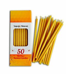 50 Natural 100% Pure Beeswax Taper Candles 6quot; Natural Honey Scent $16.80
