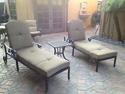 Mandalay Outdoor Patio 2 Single Chaise Lounges And 1 End Table Cast Aluminum