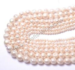 1Strand Natural Freshwater White Pearl Round Spacer Beads 4MM 6MM 8MM 10MM 12MM