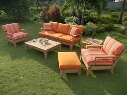 Atnas Grade-A Teak Wood 6 pc Outdoor Garden Patio Sofa Lounge Chair Set