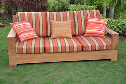 Leveb Grade-A Teak Wood Outdoor Garden Patio 3 seater Sofa Lounge Chair New