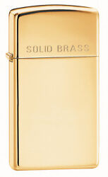 Zippo Windproof Slim High Polished Solid Brass Lighter 1654  New In Box