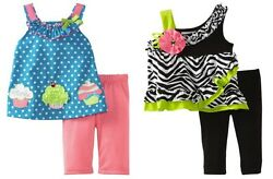 Rare Editions Summer Party for Baby Two Piece Cupcake or Zebra Legging Sets $18.00