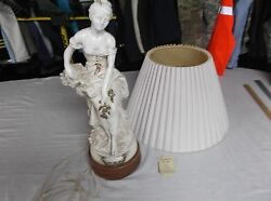 One of A Kind French Lamp Statue Woman Sitting Bone White 8353 $577.17