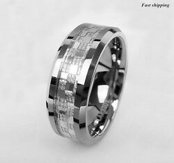 8mm Wedding Band ring Mens 925 sliver Center Tungsten Carbide Promise Ring