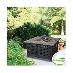 BACKYARD FIRE PIT LP GAS 41 COVER SLATE BRONZE ELECTRONIC IGNITER UNIFLAME TABLE