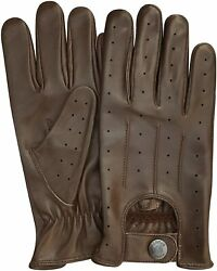 REAL LEATHER MEN#x27;S NAPPA FASHION UNLINED DRIVING GLOVES BROWN $19.99
