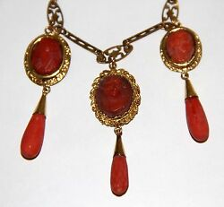 JOY478 NECKLACE. 18 K AND 8 K YELLOW GOLD. CARVED RED CORAL. SPAIN. 19th CENTURY
