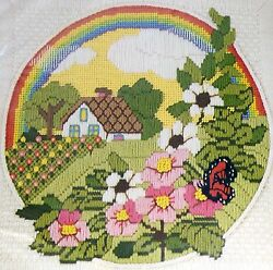 Rainbow Cottage Flower Garden Butterfly Cabin Needlepoint Stitchery Kit 12x12