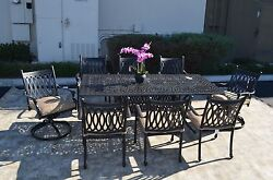 Grand Tuscany  Outdoor Patio  9pc Dining Set Cast Aluminum Sunbrella Cushions